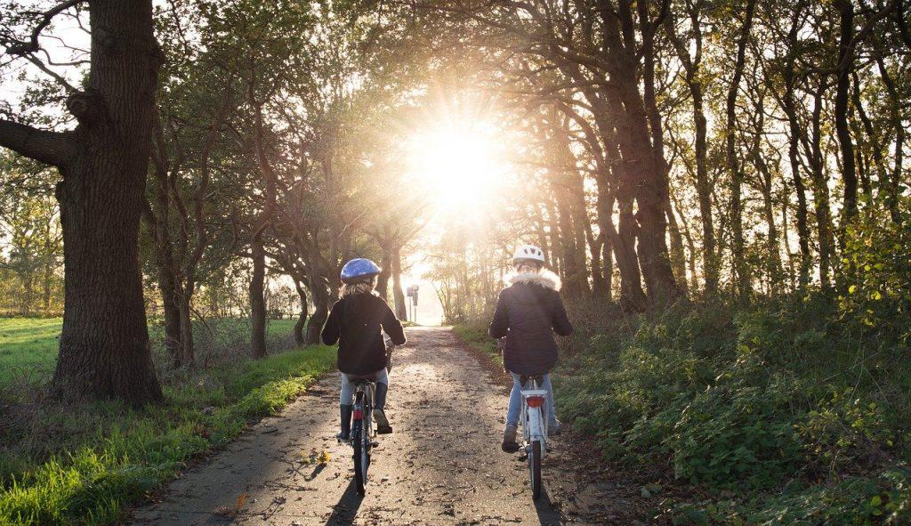 girls, bicycle, helmets